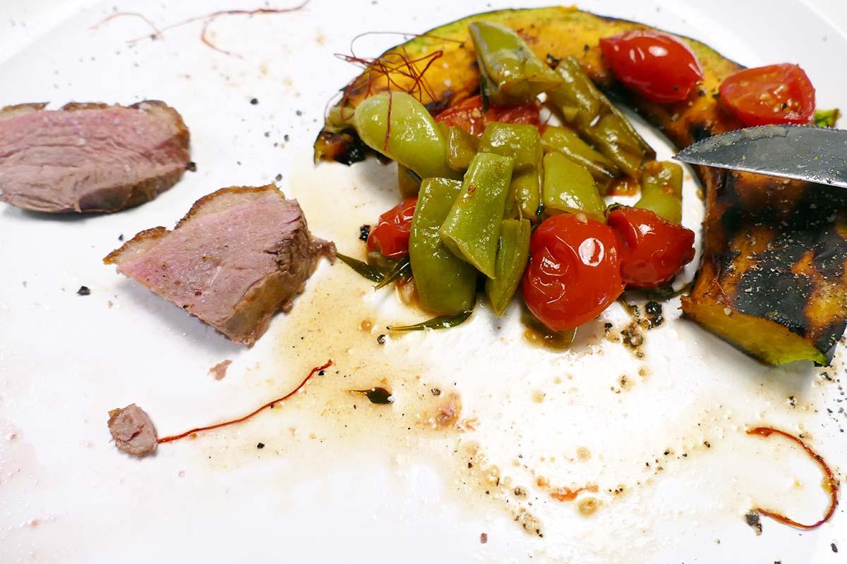 mit Gemüse entenbrust