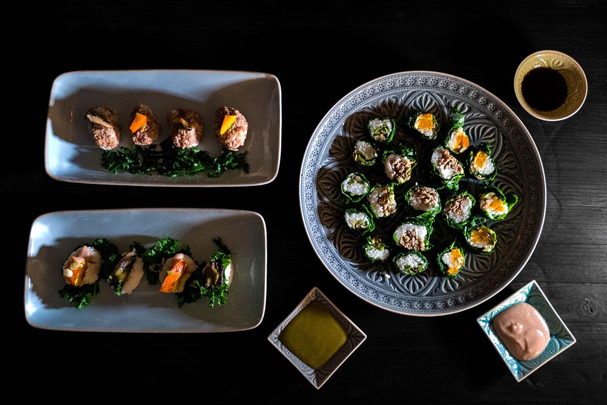 Präsentation Gruenkohl Sushi