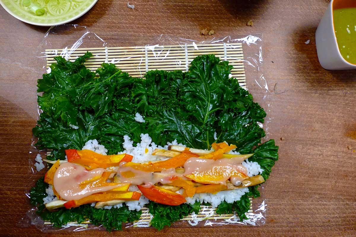Kürbisfüllung gruenkohl sushi